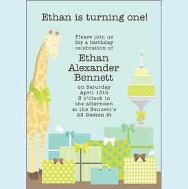 Blue Giraffe 1st Birthday Invitation - click to enlarge