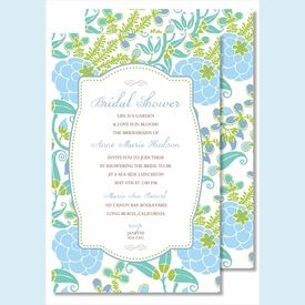 Blue/Green Garden Large Flat Invitation - click to enlarge