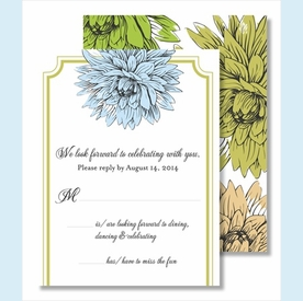 Blue Green Mums Small Flat Cards - click to enlarge