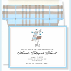 Blue Plaid Baby Announcement - click to enlarge
