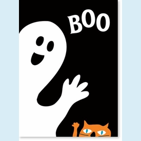Boo Ghost & Meow Cat Card - click to enlarge