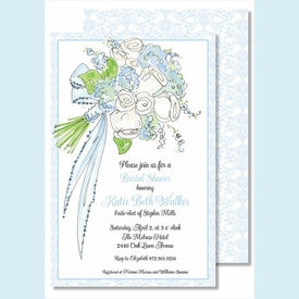 Bouquet Blue Large Flat Invitation - click to enlarge