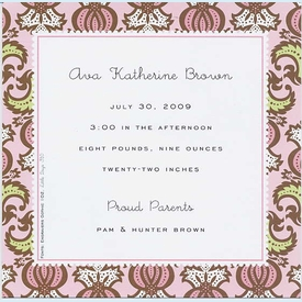 Bramble Pink Small Square Invitation - click to enlarge