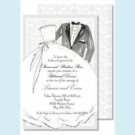Bride & Groom Large Flat Invitation - click to enlarge