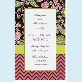 Brown & Coral Floral ZigZag Invitation - click to enlarge