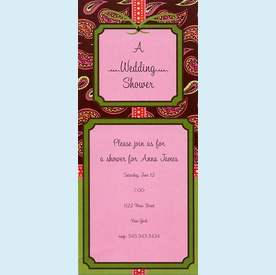 Brown & Pink Paisley Invitation - click to enlarge
