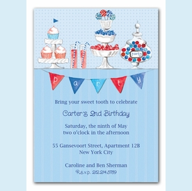 Candy Buffet Blue Invitation - click to enlarge