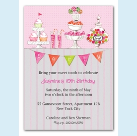 Candy Buffet Pink Invitation - click to enlarge