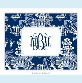 Chinoiserie Navy Folded Notes (set/25) - click to enlarge