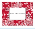 Chinoiserie Red Folded Notes (set/25)