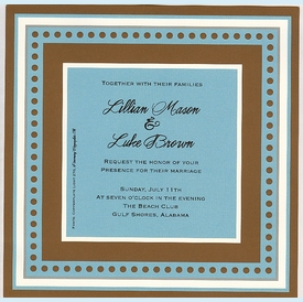 Chocolate and Aqua Square Frame Invitation (set/50) - click to enlarge