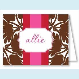 Chocolate Bold Floral w/Red/Hot Pink Stripe Note Cards - click to enlarge