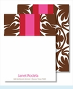 Chocolate Bold Floral w/Red/Hot Pink Stripe Small Flat Cards