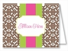 Chocolate Greek Key w/Lime/Hot Pink Stripe Note Cards