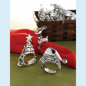 Christmas Metal Napkins Rings (3 styles) - click to enlarge