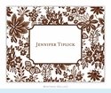 Classic Floral Brown Folded Notes (set/25)