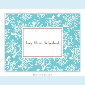 Coral Repeat Teal Folded Notes (set/25) - click to enlarge