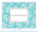 Coral Repeat Teal Folded Notes (set/25)