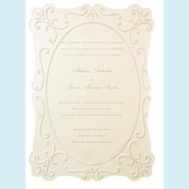 Cream Flocked Frame Invitation - click to enlarge