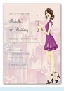 Cute Champagne Girl Invitation