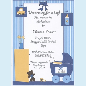 Decorating for a Boy Invitation - click to enlarge