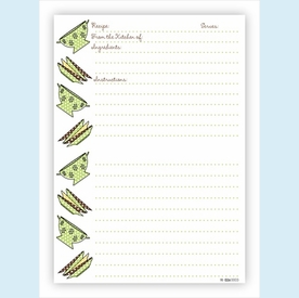Double Recipe Card - Colander & Plates, Lime & Chocolate - click to enlarge