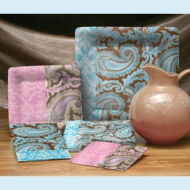 Elegance Paisley Blue Guest Towel - click to enlarge