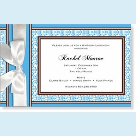 Elegant Blue & Brown w/Bow Invitation - click to enlarge
