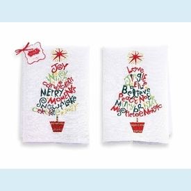 Embroidered Tree Linen Towels (set of 2) - click to enlarge