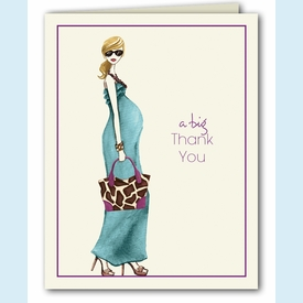 Fashionable Mom Blue Thank You Notes (Blonde) - click to enlarge