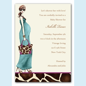 Fashionable Mom Invitation - Blue - click to enlarge