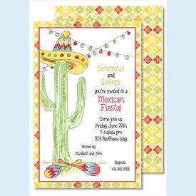 Fiesta Cactus Large Flat Invitation - click to enlarge