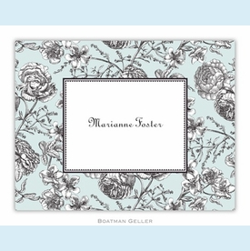 Floral Toile Aqua Folded Notes (set/25) - click to enlarge