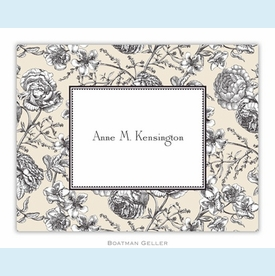 Floral Toile Cream Folded Notes (set/25) - click to enlarge