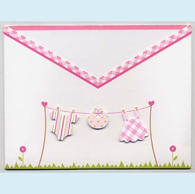 Girl Clothesline Swaddle Invitation - click to enlarge