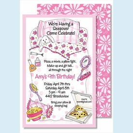 Girl's Sleep Over Large Flat Invitation - click to enlarge