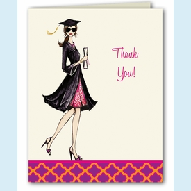 Gorgeous Grad Thank You Notes - Brunette - click to enlarge