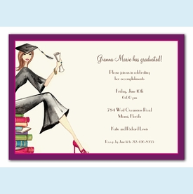 Grad on Books Invitation (1.5 sets=12 total invites) - click to enlarge