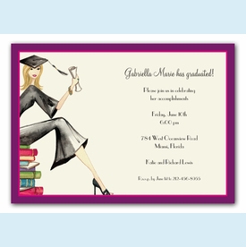Grad on Books Invitation - Blonde - click to enlarge