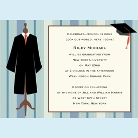 Graduation Stripes Invitation (1.5 sets=12 total invites) - click to enlarge