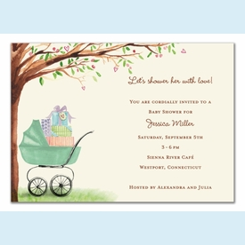 Green Beautiful Bassinet Invitation - click to enlarge