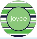 Green/Blue Stripe Personalized Magnet