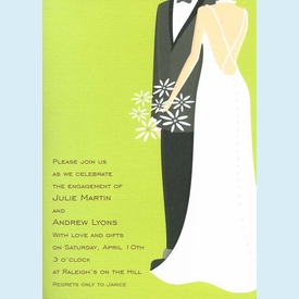 Green Bride & Groom Invitation - click to enlarge