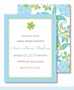 Green Flower Blue Border Small Flat Cards