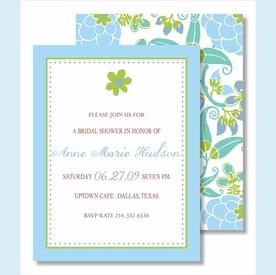 Green Flower Blue Border Small Flat Cards - click to enlarge