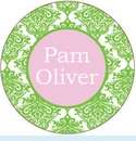 Green/Pink Toile Personalized Magnet