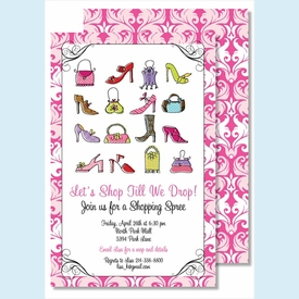 Handbags & High Heels Large Flat Invitation - click to enlarge