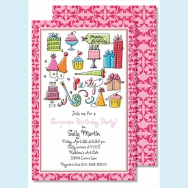 Happy Birthday Girl Large Flat Invitation - click to enlarge