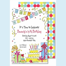 Happy Birthday Party Large Flat Invitation - click to enlarge