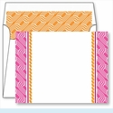 Hot Pink Chain Border Small Flat Cards w/Coordinating Liner